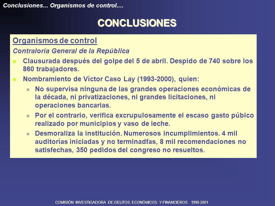 COMISIÓN INVESTIGADORA DE DELITOS ECONÓMICOS Y FINANCIEROS 1990-2001 SUNAT: Reorganizada en 1991 por Manuel Estela, quien: Defiende la autonomía institucional.