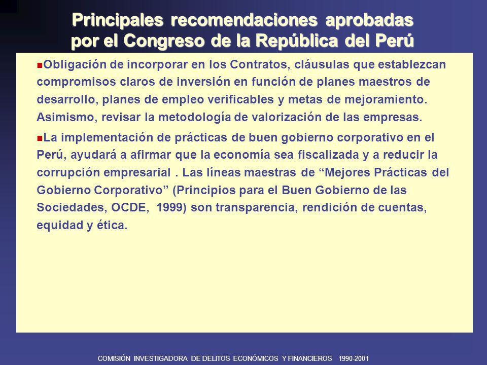 COMISIÓN INVESTIGADORA DE DELITOS ECONÓMICOS Y FINANCIEROS 1990-2001 Revisión y modificación de la normatividad referida a la regulación para garantizar la libre competencia y el respeto a la igualdad ante la ley.