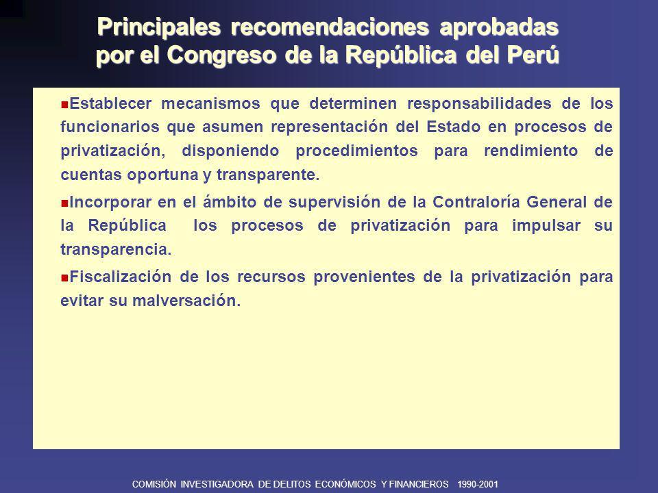 COMISIÓN INVESTIGADORA DE DELITOS ECONÓMICOS Y FINANCIEROS 1990-2001 Modificar la legislación actual para sancionar el uso indiscriminado de Decretos de Urgencia.