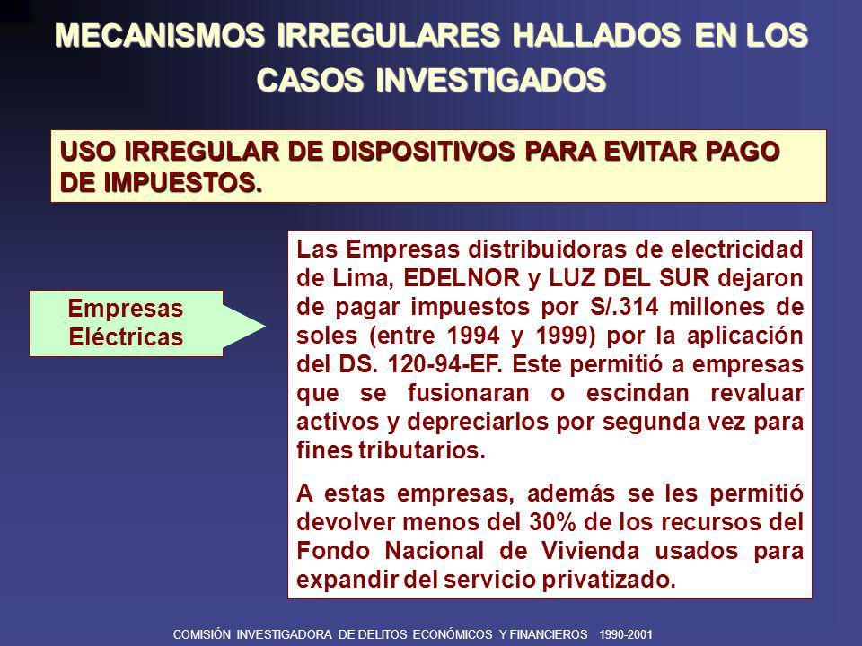 COMISIÓN INVESTIGADORA DE DELITOS ECONÓMICOS Y FINANCIEROS 1990-2001 MECANISMOS IRREGULARES HALLADOS EN LOS CASOS INVESTIGADOS USO DE INFORMACIÓN PRIVILEGIADA En enero de 1993, el principal asesor del Ministro de Economía fue al mismo tiempo representante del Consorcio que ganó la Buena Pro.