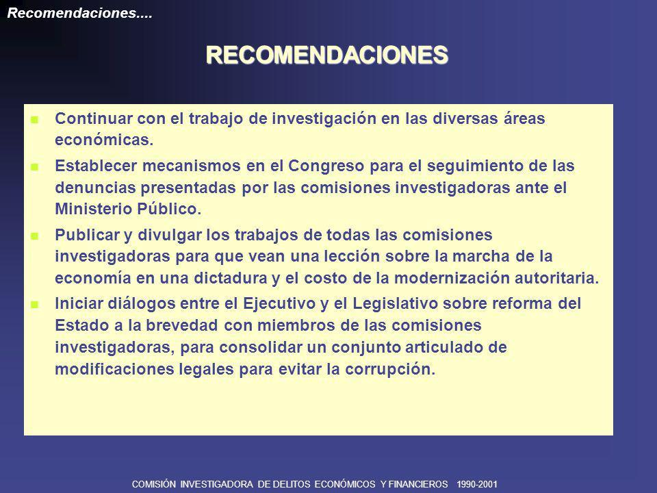 COMISIÓN INVESTIGADORA DE DELITOS ECONÓMICOS Y FINANCIEROS 1990-2001 Modificar la legislación penal en relación con los delitos de abuso de autoridad y de responsabilidades en la emisión de dipositivos que se expidan para favorecer irregularmente intereses privados.