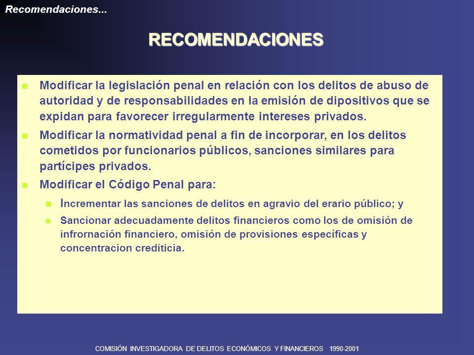 COMISIÓN INVESTIGADORA DE DELITOS ECONÓMICOS Y FINANCIEROS 1990-2001 Diez meses de investigación.