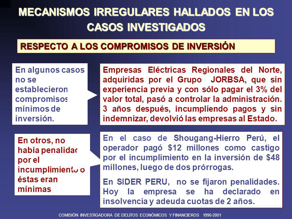 COMISIÓN INVESTIGADORA DE DELITOS ECONÓMICOS Y FINANCIEROS 1990-2001 ê Al vender empresas rentables mineras y de hidrocarburos, perdiendo el Perú la renta por la explotación de estos recursos.