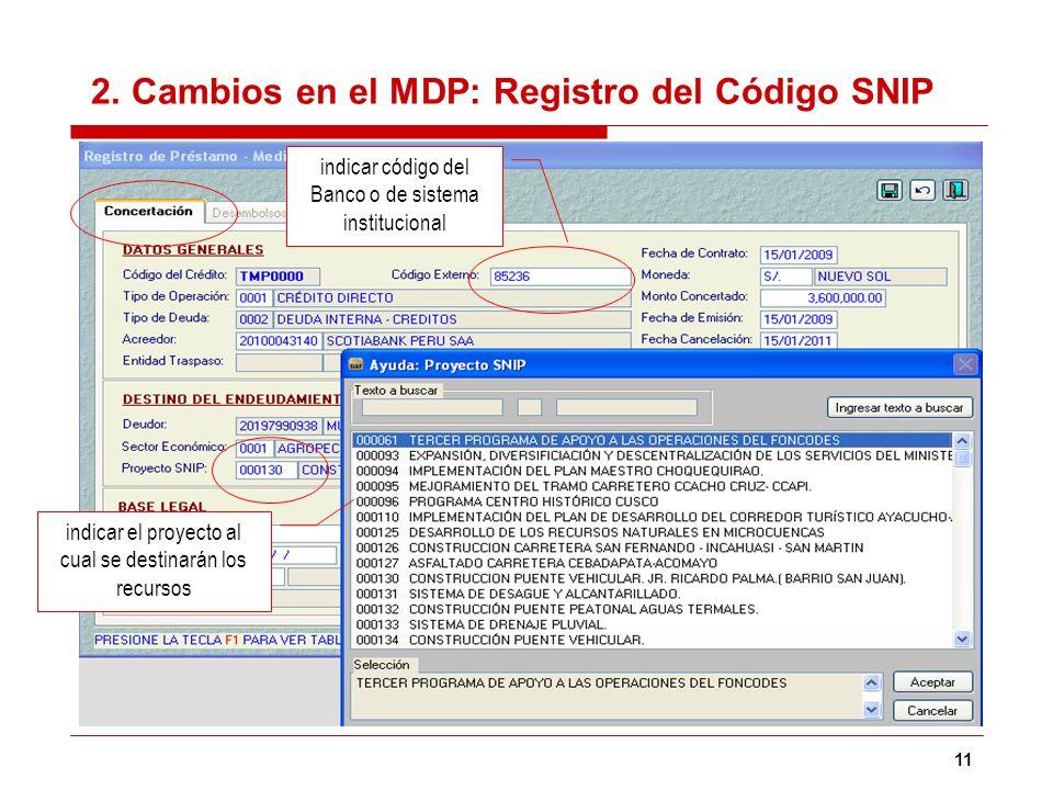 11 2. Cambios en el MDP: Registro del Código SNIP indicar el proyecto al cual se destinarán los recursos indicar código del Banco o de sistema institu