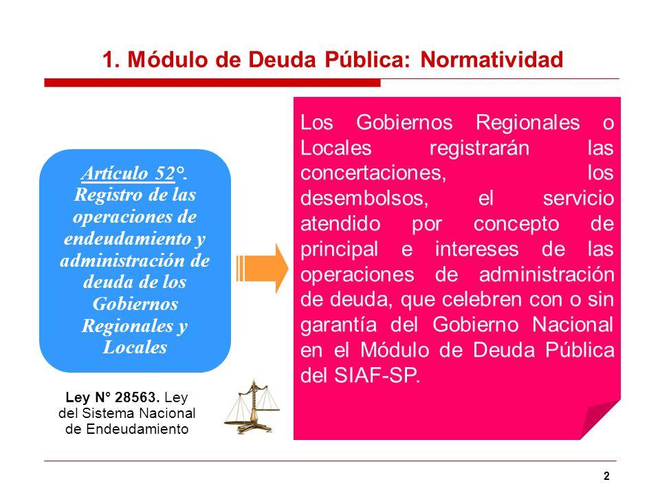 2 Artículo 52°. Registro de las operaciones de endeudamiento y administración de deuda de los Gobiernos Regionales y Locales Los Gobiernos Regionales