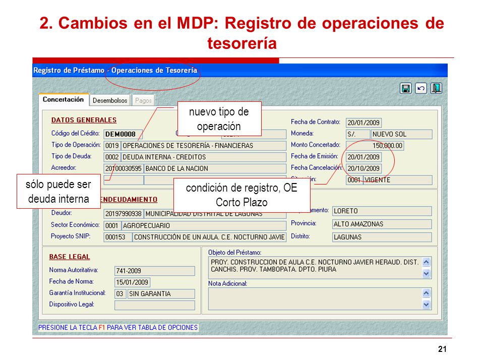 21 2. Cambios en el MDP: Registro de operaciones de tesorería condición de registro, OE Corto Plazo nuevo tipo de operación sólo puede ser deuda inter