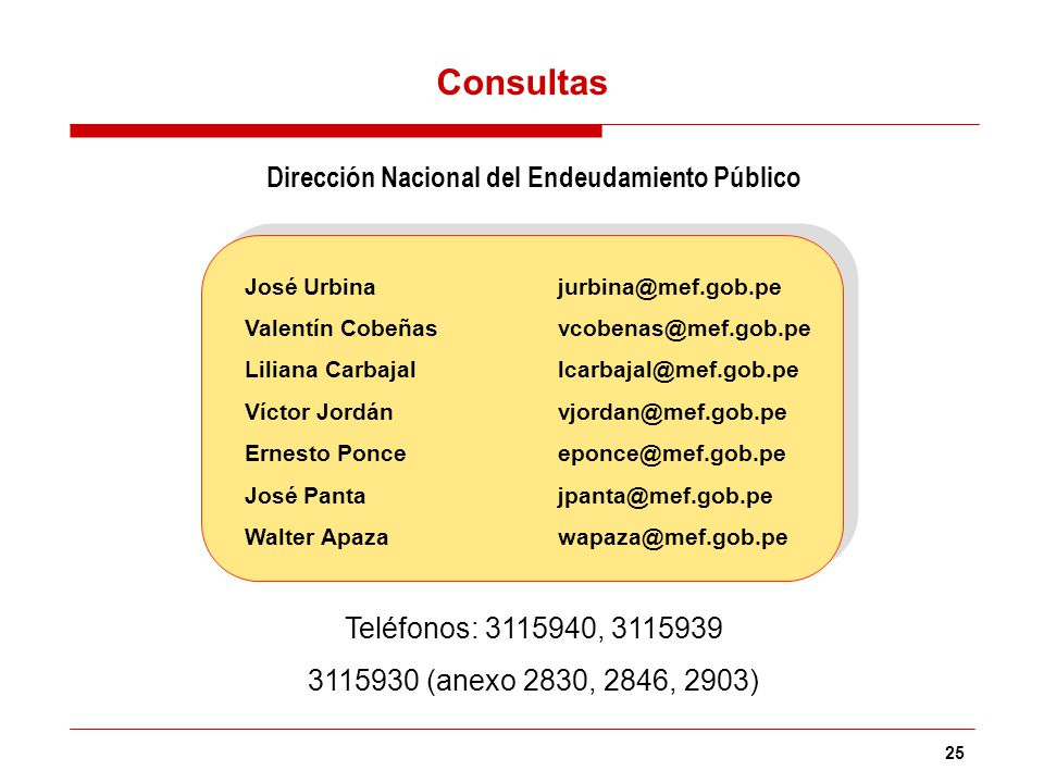 25 José Urbinajurbina@mef.gob.pe Valentín Cobeñasvcobenas@mef.gob.pe Liliana Carbajal lcarbajal@mef.gob.pe Víctor Jordán vjordan@mef.gob.pe Ernesto Po