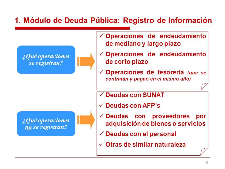 4 ¿Qué operaciones se registran? Operaciones de endeudamiento de mediano y largo plazo Operaciones de endeudamiento de corto plazo Operaciones de teso