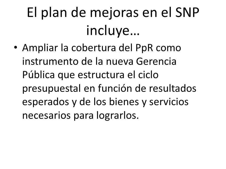 El plan de mejoras en el SNP implica… Mayor flexibilidad en el uso de los recursos al cambiar el ámbito de control de los Insumos a los Productos y Resultados.