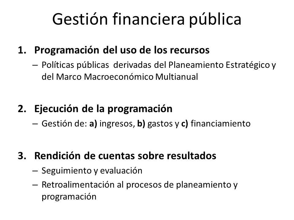 M1: Programación del uso de los recursos … Este macro proceso procura articular y alinear el planeamiento estratégico de largo plazo (incluye los programas y proyectos prioritarios) con: – la Programación Macroeconómica Multianual, – la Política Fiscal, y – la Programación Presupuestaria.