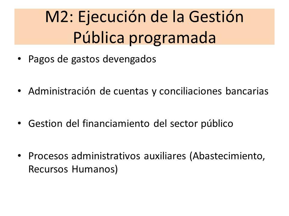 M3: Rendición de cuentas financiera y de resultados Información sobre indicadores de productos y de resultados Información financiera Producción de estadísticas de las finanzas públicas Retroalimentación con fines de mejora de la rentabilidad social del gasto público