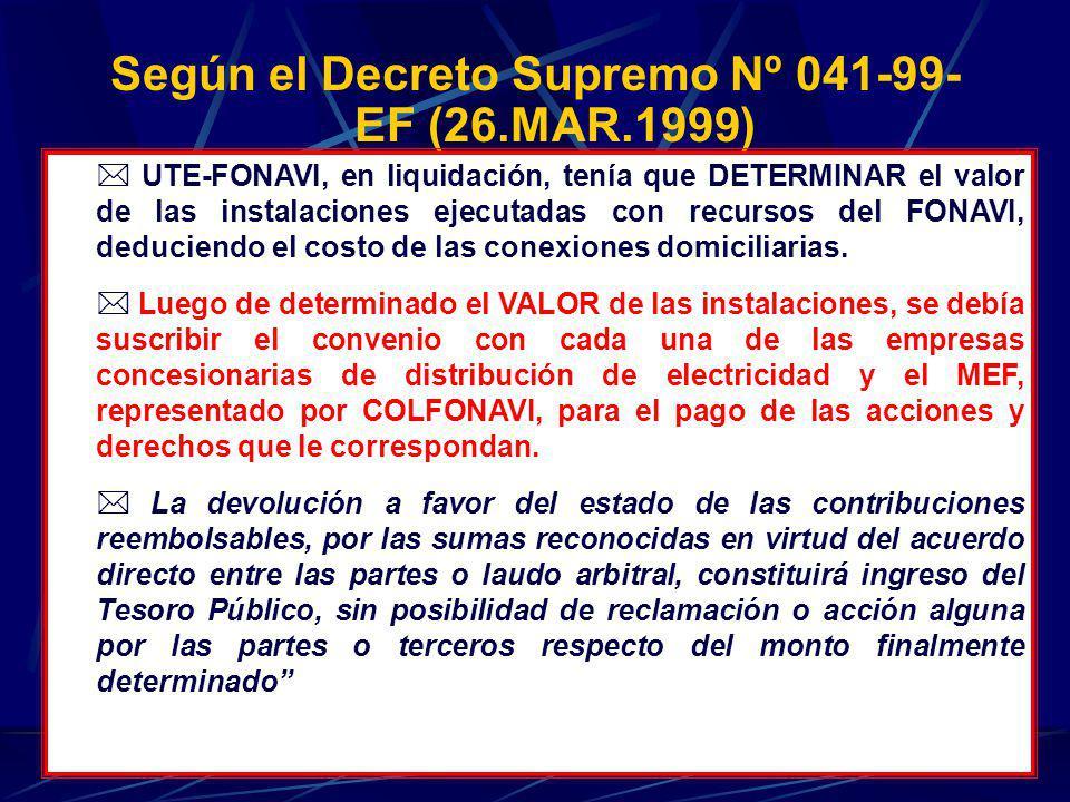 Según el Decreto Supremo Nº 041-99- EF (26.MAR.1999) - UTE-FONAVI, en liquidación, tenía que DETERMINAR el valor de las instalaciones ejecutadas con r