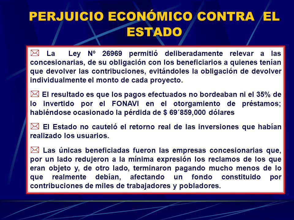 PERJUICIO ECONÓMICO CONTRA EL ESTADO La Ley Nº 26969 permitió deliberadamente relevar a las concesionarias, de su obligación con los beneficiarios a q