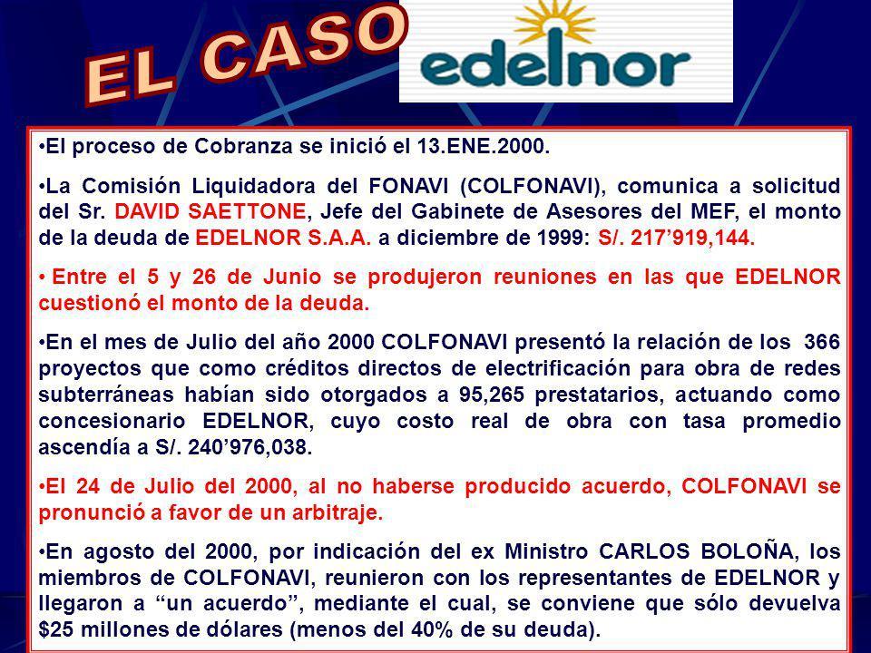 El proceso de Cobranza se inició el 13.ENE.2000. La Comisión Liquidadora del FONAVI (COLFONAVI), comunica a solicitud del Sr. DAVID SAETTONE, Jefe del