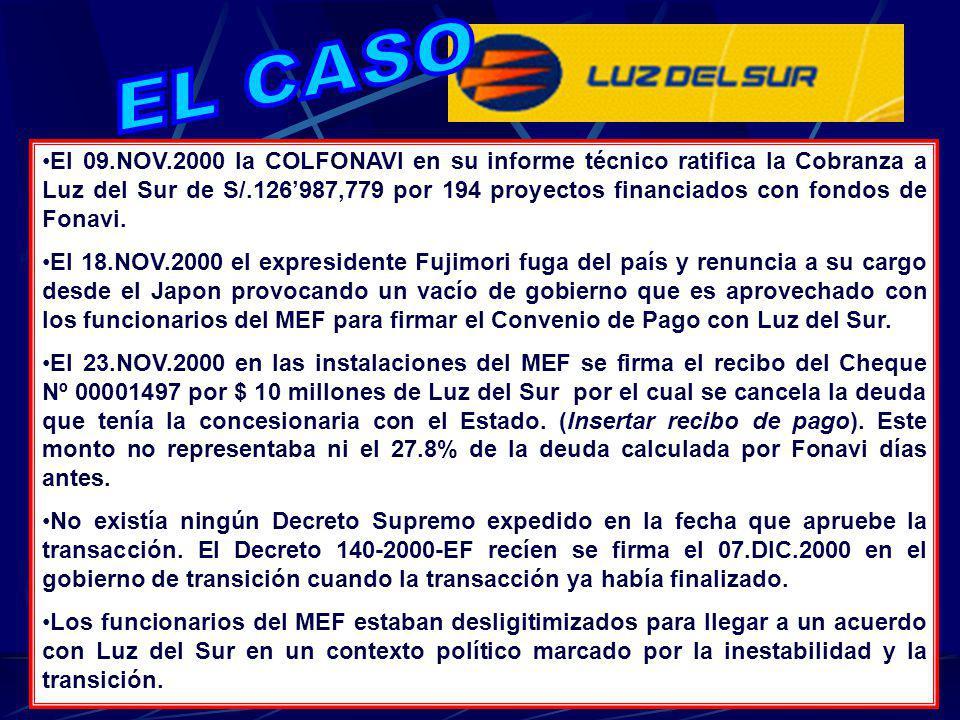 El 09.NOV.2000 la COLFONAVI en su informe técnico ratifica la Cobranza a Luz del Sur de S/.126987,779 por 194 proyectos financiados con fondos de Fona