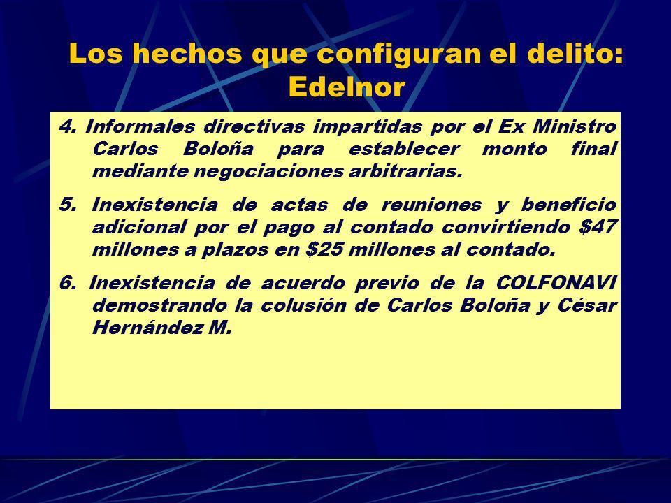 Los hechos que configuran el delito: Edelnor 4. Informales directivas impartidas por el Ex Ministro Carlos Boloña para establecer monto final mediante