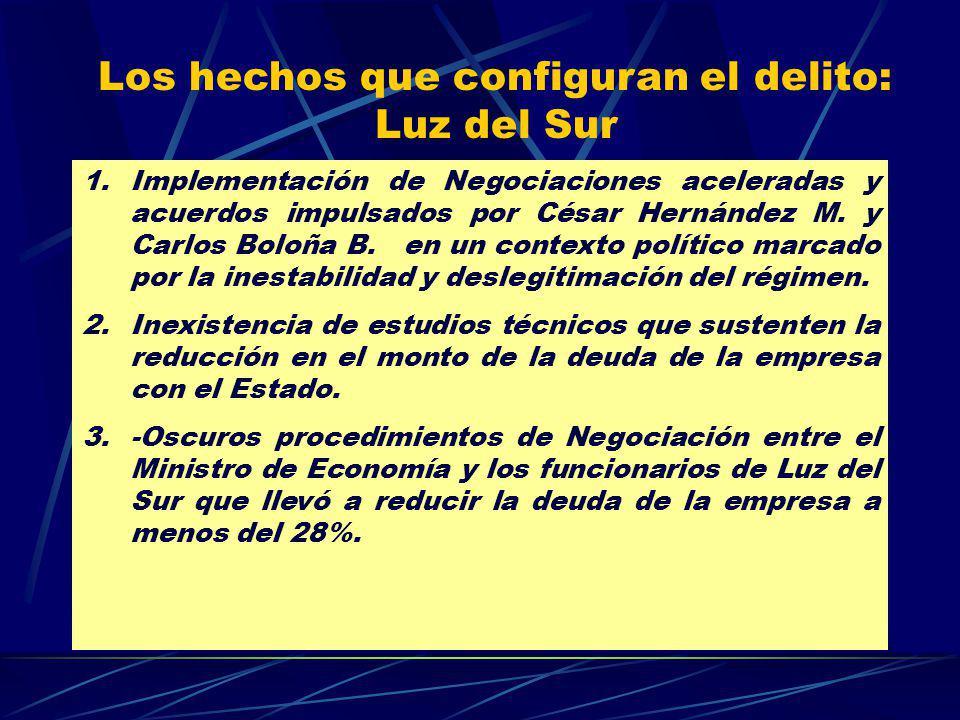 Los hechos que configuran el delito: Luz del Sur 1.Implementación de Negociaciones aceleradas y acuerdos impulsados por César Hernández M. y Carlos Bo