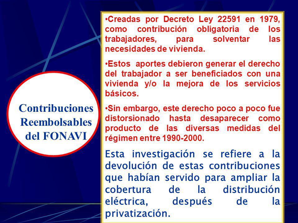El régimen de Fujimori distorsionó el uso de los recursos del FONAVI perjudicando el derecho de los trabajadores Decreto Ley 22591 (30/06/79) Crea el FONAVI como Contribución obligatoria, para solventar necesidades de vivienda.