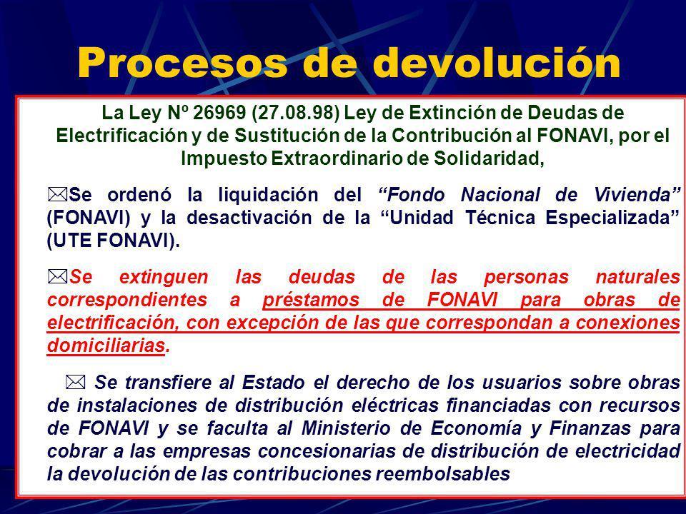 Procesos de devolución La Ley Nº 26969 (27.08.98) Ley de Extinción de Deudas de Electrificación y de Sustitución de la Contribución al FONAVI, por el