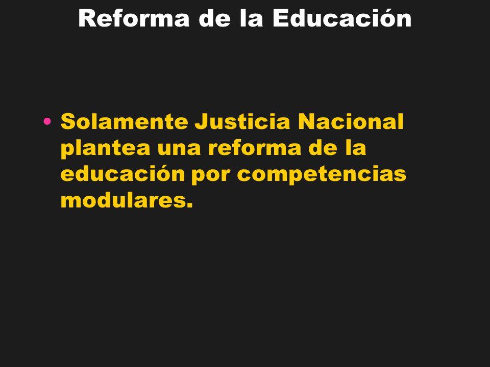 Reforma de la Educación Solamente Justicia Nacional plantea una reforma de la educación por competencias modulares.