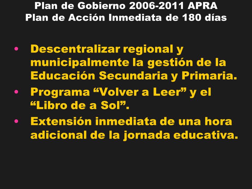 Plan de Gobierno 2006-2011 APRA Plan de Acción Inmediata de 180 días Descentralizar regional y municipalmente la gestión de la Educación Secundaria y