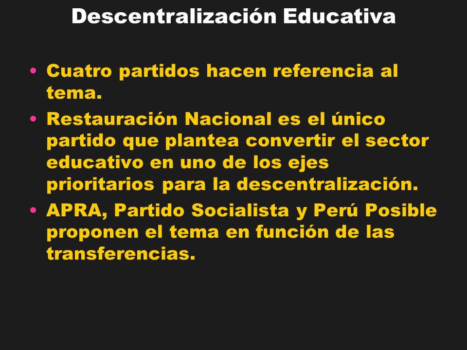 APRA, Partido Socialista y Perú Posible coinciden en señalar la transferencia de competencias educativas a las regiones y municipalidades.