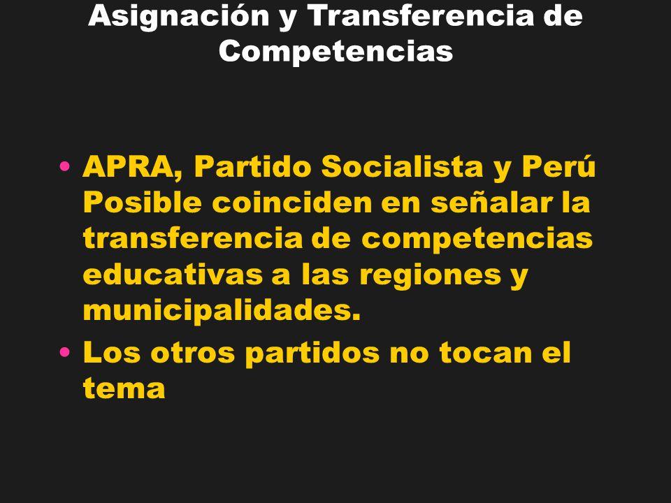 APRA, Partido Socialista y Perú Posible coinciden en señalar la transferencia de competencias educativas a las regiones y municipalidades. Los otros p