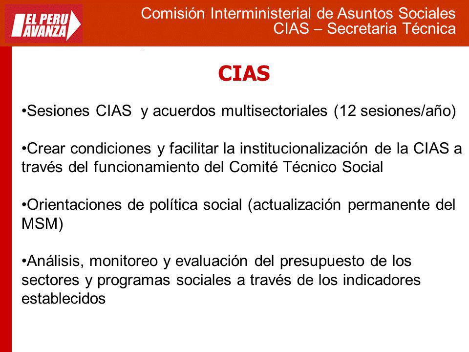 CIAS Comisión Interministerial de Asuntos Sociales CIAS – Secretaria Técnica Sesiones CIAS y acuerdos multisectoriales (12 sesiones/año) Crear condici