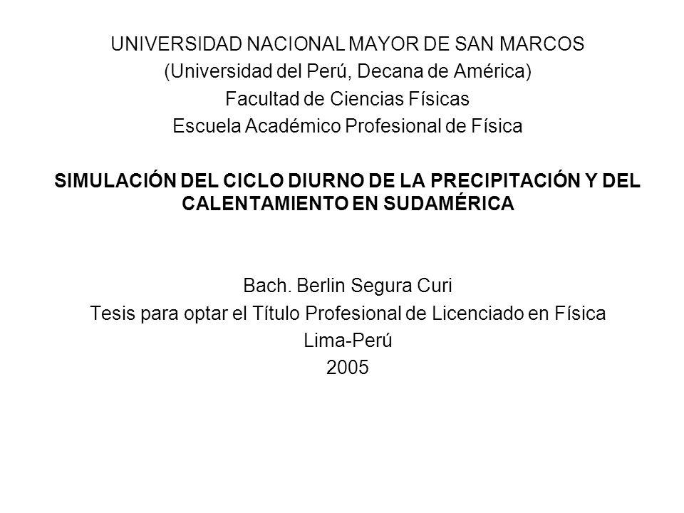 UNIVERSIDAD NACIONAL MAYOR DE SAN MARCOS (Universidad del Perú, Decana de América) Facultad de Ciencias Físicas Escuela Académico Profesional de Físic