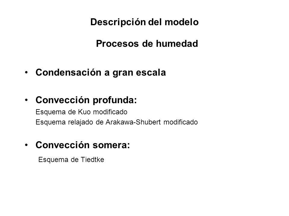 Descripción del modelo Procesos de humedad Condensación a gran escala Convección profunda: Esquema de Kuo modificado Esquema relajado de Arakawa-Shube