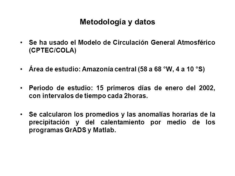 Se ha usado el Modelo de Circulación General Atmosférico (CPTEC/COLA) Área de estudio: Amazonía central (58 a 68 °W, 4 a 10 °S) Periodo de estudio: 15