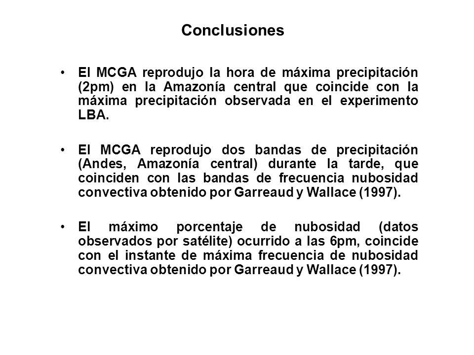 Conclusiones El MCGA reprodujo la hora de máxima precipitación (2pm) en la Amazonía central que coincide con la máxima precipitación observada en el e