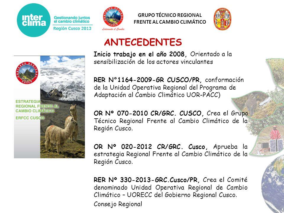 GRUPO TÉCNICO REGIONAL FRENTE AL CAMBIO CLIMÁTICO ANTECEDENTES Inicio trabajo en el año 2008, Orientado a la sensibilización de los actores vinculante