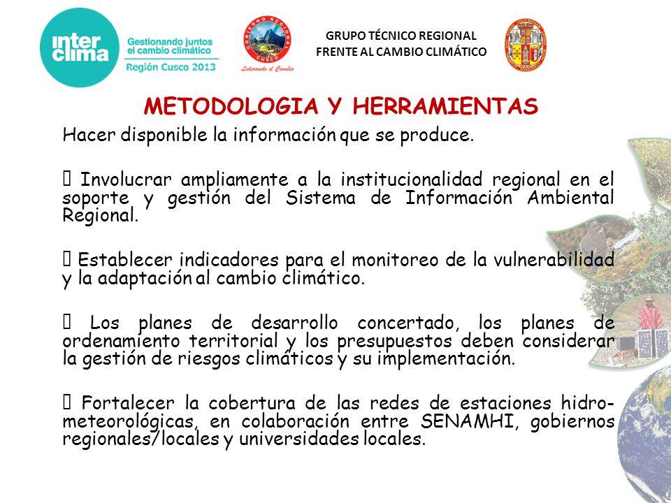 GRUPO TÉCNICO REGIONAL FRENTE AL CAMBIO CLIMÁTICO METODOLOGIA Y HERRAMIENTAS Hacer disponible la información que se produce. Involucrar ampliamente a