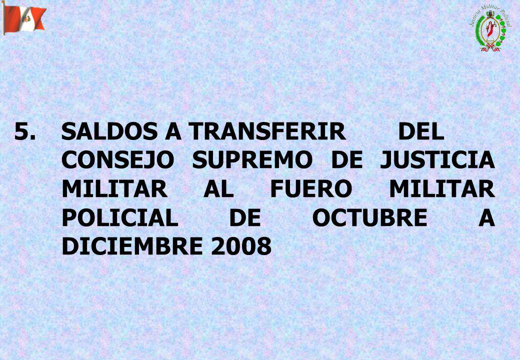 5.SALDOS A TRANSFERIR DEL CONSEJO SUPREMO DE JUSTICIA MILITAR AL FUERO MILITAR POLICIAL DE OCTUBRE A DICIEMBRE 2008