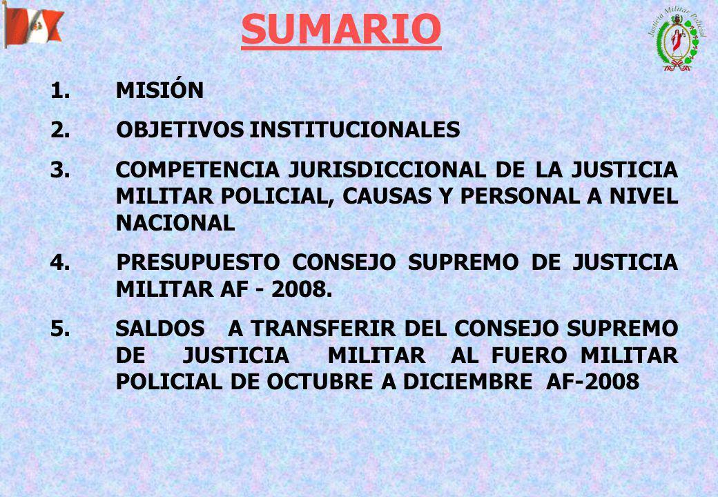 1.MISIÓN 2.OBJETIVOS INSTITUCIONALES 3.COMPETENCIA JURISDICCIONAL DE LA JUSTICIA MILITAR POLICIAL, CAUSAS Y PERSONAL A NIVEL NACIONAL 4.PRESUPUESTO CONSEJO SUPREMO DE JUSTICIA MILITAR AF - 2008.