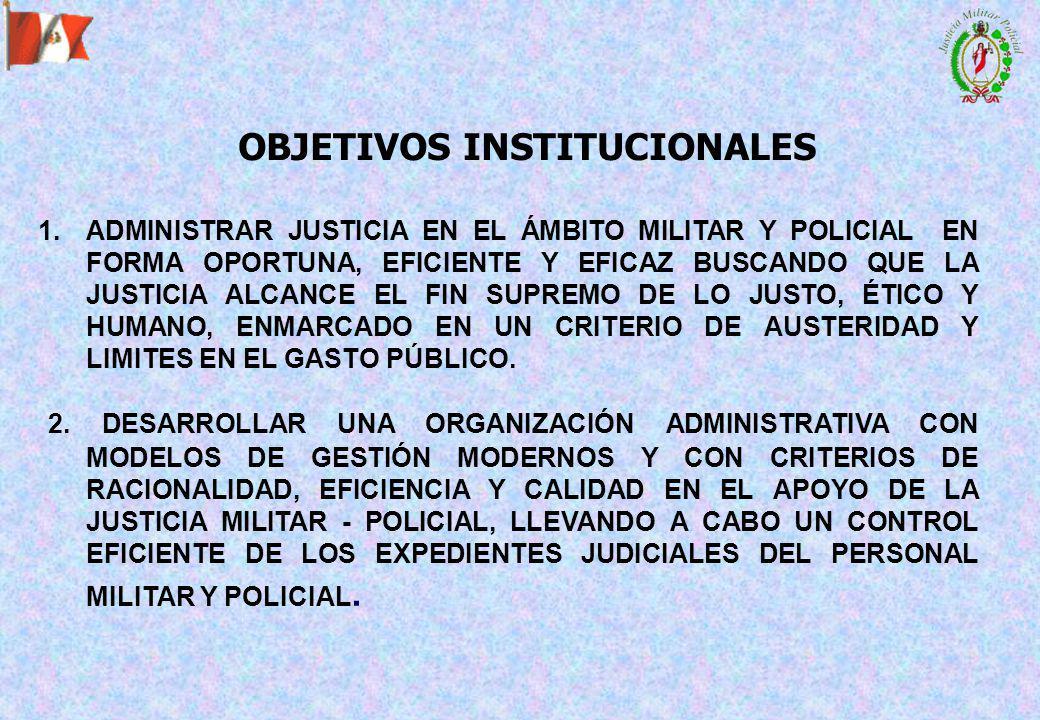 1.ADMINISTRAR JUSTICIA EN EL ÁMBITO MILITAR Y POLICIAL EN FORMA OPORTUNA, EFICIENTE Y EFICAZ BUSCANDO QUE LA JUSTICIA ALCANCE EL FIN SUPREMO DE LO JUSTO, ÉTICO Y HUMANO, ENMARCADO EN UN CRITERIO DE AUSTERIDAD Y LIMITES EN EL GASTO PÚBLICO.