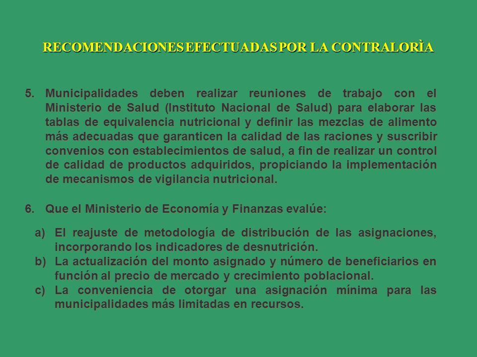 RECOMENDACIONES EFECTUADAS POR LA CONTRALORÌA 5.Municipalidades deben realizar reuniones de trabajo con el Ministerio de Salud (Instituto Nacional de