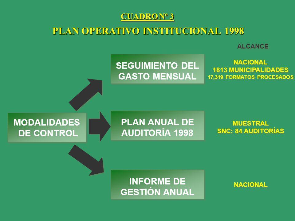 PLAN OPERATIVO INSTITUCIONAL 1998 MODALIDADES DE CONTROL SEGUIMIENTO DEL GASTO MENSUAL PLAN ANUAL DE AUDITORÍA 1998 INFORME DE GESTIÓN ANUAL ALCANCE N