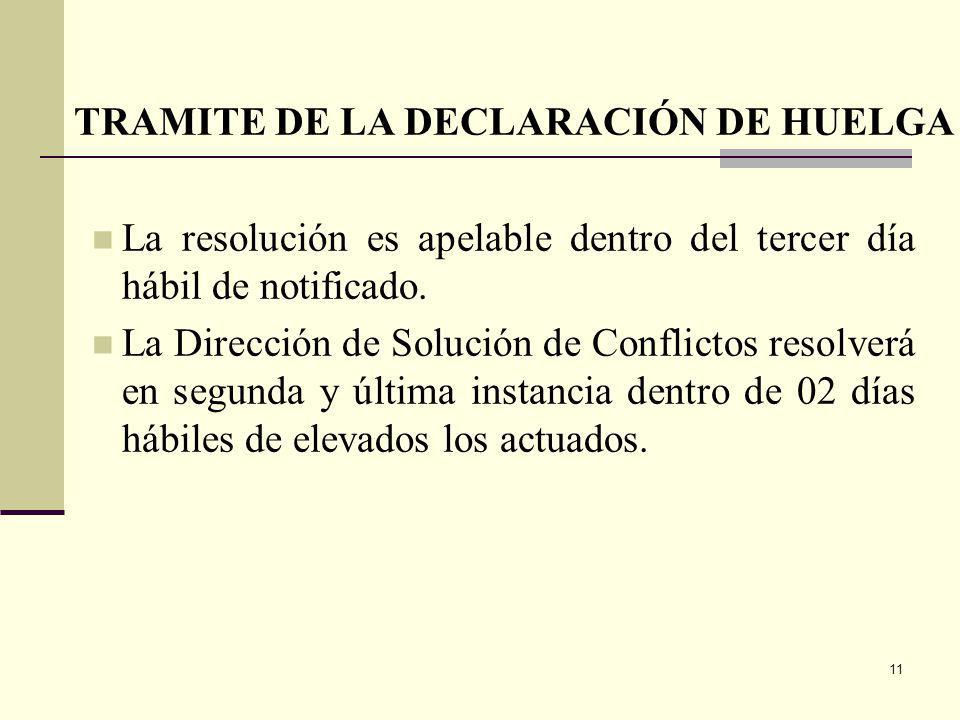 11 La resolución es apelable dentro del tercer día hábil de notificado.