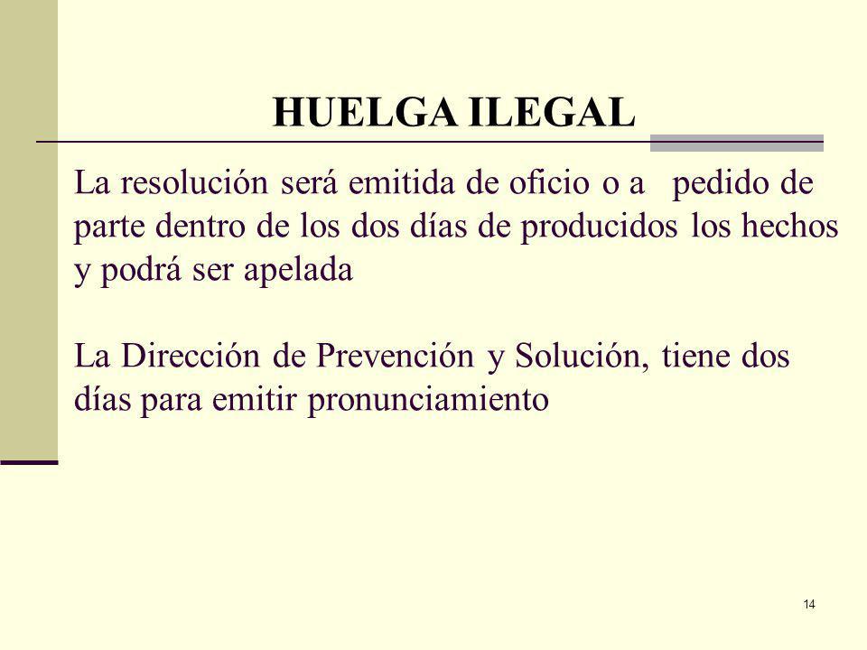 14 La resolución será emitida de oficio o a pedido de parte dentro de los dos días de producidos los hechos y podrá ser apelada La Dirección de Prevención y Solución, tiene dos días para emitir pronunciamiento HUELGA ILEGAL