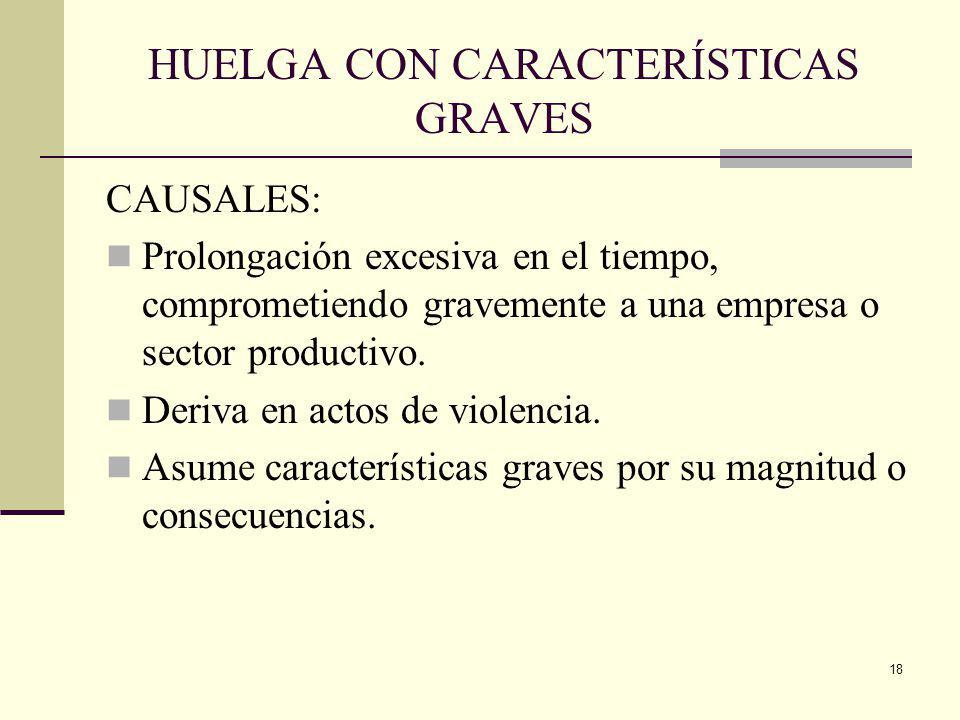 18 HUELGA CON CARACTERÍSTICAS GRAVES CAUSALES: Prolongación excesiva en el tiempo, comprometiendo gravemente a una empresa o sector productivo.