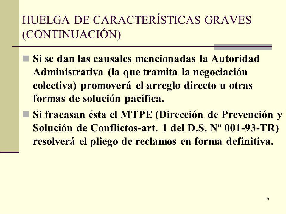 19 HUELGA DE CARACTERÍSTICAS GRAVES (CONTINUACIÓN) Si se dan las causales mencionadas la Autoridad Administrativa (la que tramita la negociación colectiva) promoverá el arreglo directo u otras formas de solución pacífica.
