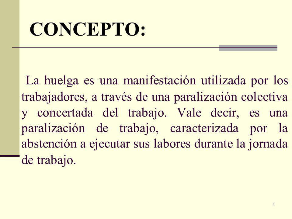 2 La huelga es una manifestación utilizada por los trabajadores, a través de una paralización colectiva y concertada del trabajo.