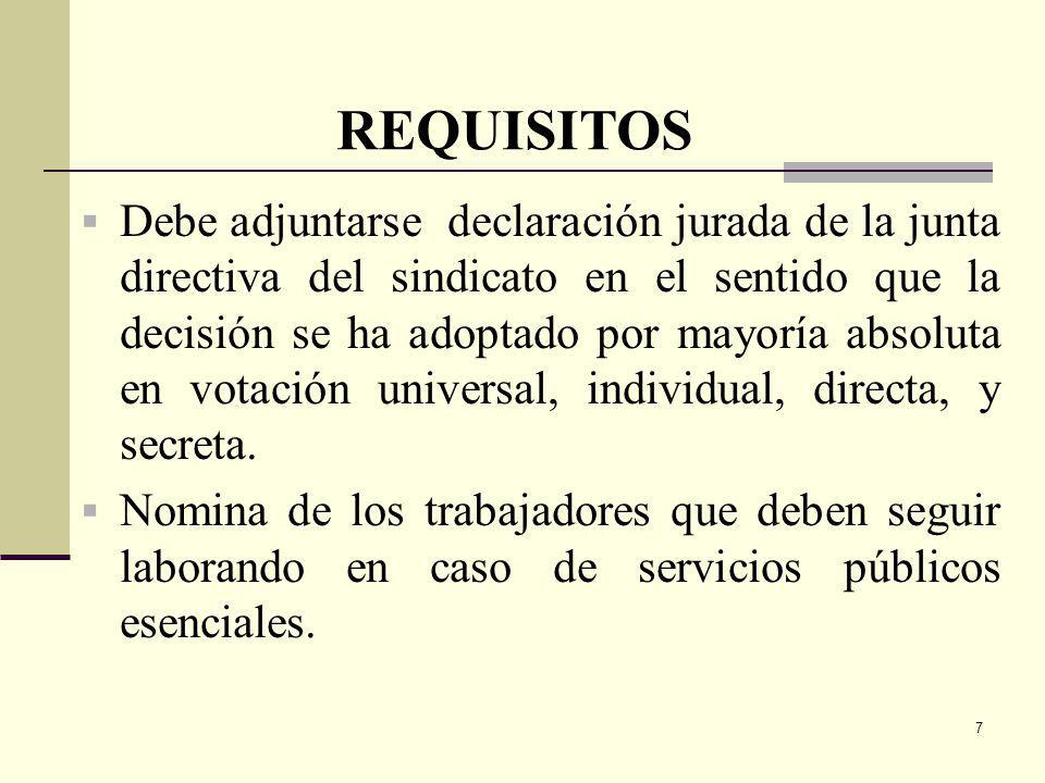 7 Debe adjuntarse declaración jurada de la junta directiva del sindicato en el sentido que la decisión se ha adoptado por mayoría absoluta en votación universal, individual, directa, y secreta.
