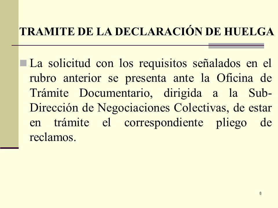 8 La solicitud con los requisitos señalados en el rubro anterior se presenta ante la Oficina de Trámite Documentario, dirigida a la Sub- Dirección de Negociaciones Colectivas, de estar en trámite el correspondiente pliego de reclamos.