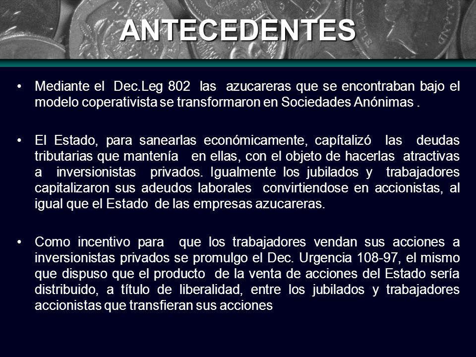 ANTECEDENTES Mediante el Dec.Leg 802 las azucareras que se encontraban bajo el modelo coperativista se transformaron en Sociedades Anónimas.