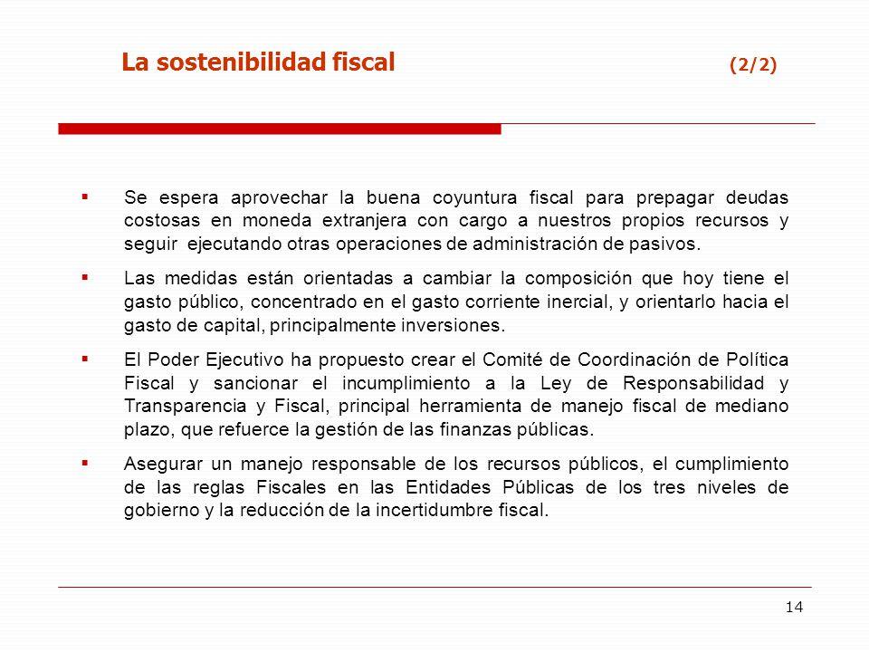 14 Se espera aprovechar la buena coyuntura fiscal para prepagar deudas costosas en moneda extranjera con cargo a nuestros propios recursos y seguir ej