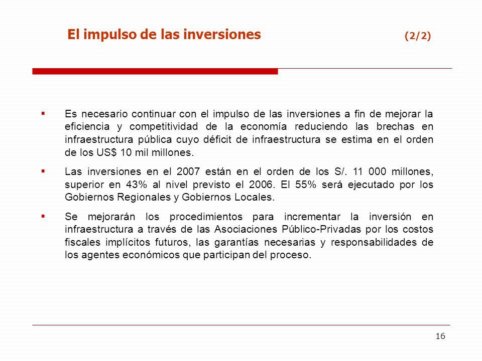 16 Es necesario continuar con el impulso de las inversiones a fin de mejorar la eficiencia y competitividad de la economía reduciendo las brechas en i