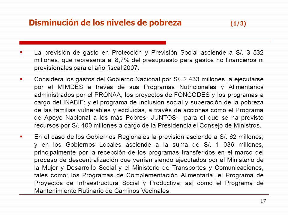 17 Disminución de los niveles de pobreza (1/3) La previsión de gasto en Protección y Previsión Social asciende a S/. 3 532 millones, que representa el